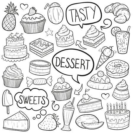Dessert Food Sweets Doodle Icon Sketch Vector Art