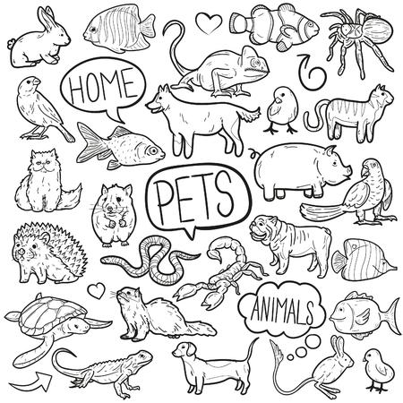 Animaux Domestiques Animaux Doodle Icône Croquis Clipart vectoriel Vecteurs