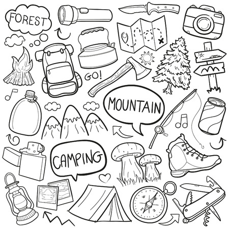 pastime: Mountain Camping Forest Doodle Icon Sketch Vector Art