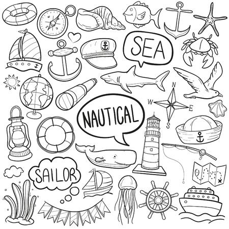 Nautical Sea Life Doodle Icon Sketch Vector Art