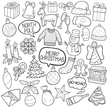 festiveness: Christmas Holiday Doodle Icon Sketch Vector Art