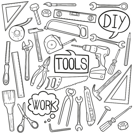 Tools Home Works Doodle Icon Sketch Vector Art Illustration