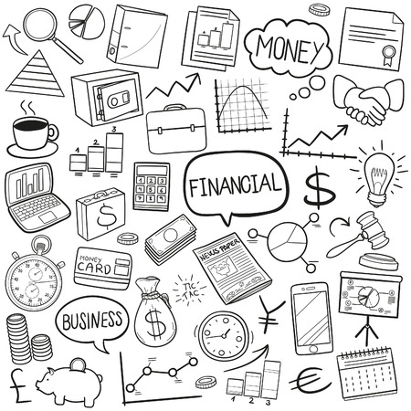 Financial Business Doodle Icon Sketch Vector Art Vettoriali