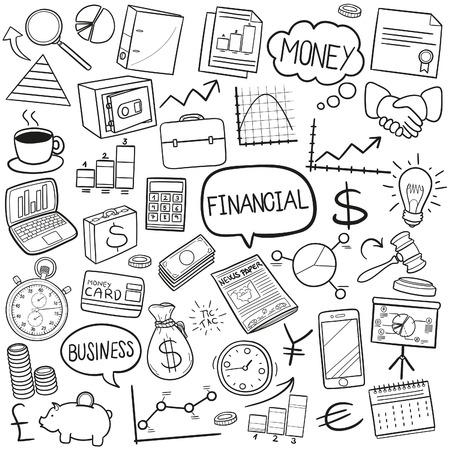 stockholder: Financial Business Doodle Icon Sketch Vector Art Illustration