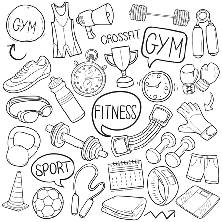 Gym Fitness Sport Doodle Icon Sketch Vector Art