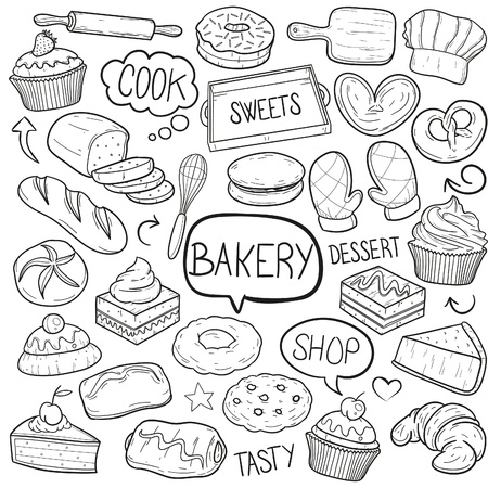 Bakery Food Sweets Doodle Icon Sketch Vector Art