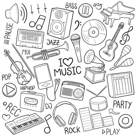 Music Party Doodle Icon Sketch Vector Art