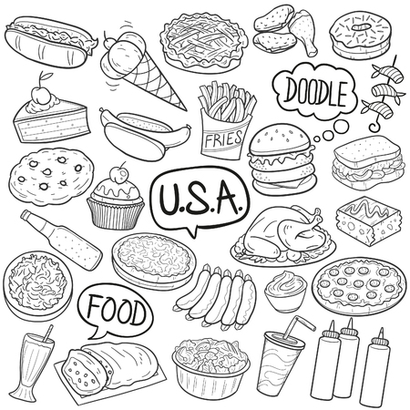 USA Traditional Food Doodle Icon Sketch Vector Art