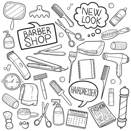 Barber Shop Hairdresser Doodle Icon Sketch Vector Art