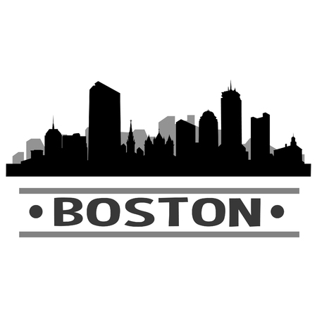 Boston Skyline Vector Art City Design Banco de Imagens - 83650653