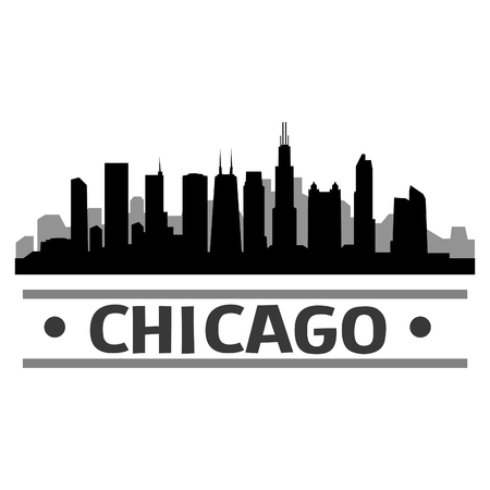 Chicago Skyline Vector Art City Design Illusztráció
