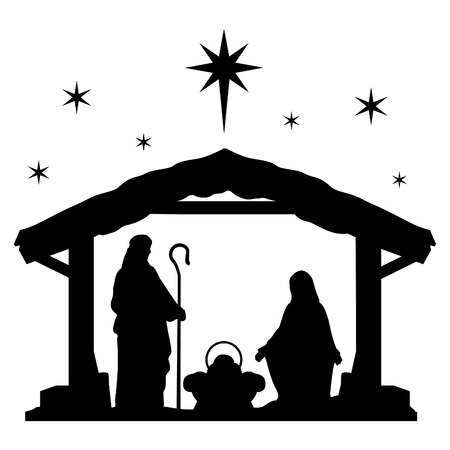 Nativity Scene Silhouette Holiday Holly Night Christmas.