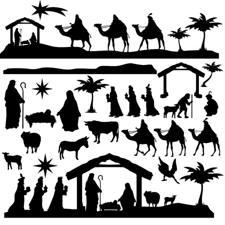 Nativity Scene Silhouette Holiday Holly Night Christmas Set 免版税图像 - 91762503