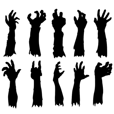 Zombie Hand Silhouette Clip Art Design Vector Set Collection