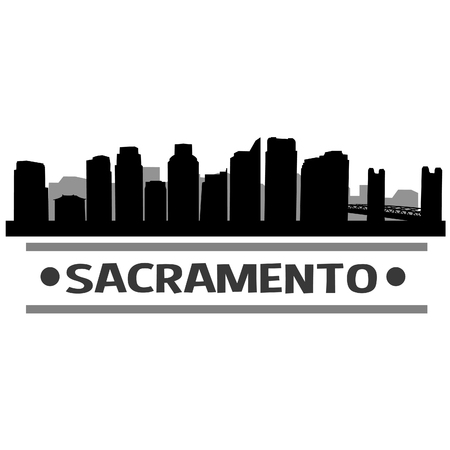 Sacramento California, United States of America vector art icon design. Skyline flat city, silhouette template. Illustration