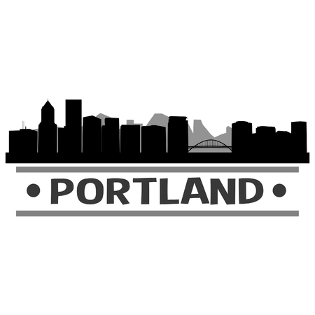Portland Oregon United States Of America USA Icon Vector Art Design Skyline Flat City Silhouette Editable Template Ilustração