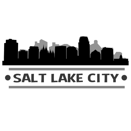 Salt Lake City Utah United States Of America USA Icon Vector Art Design Skyline Flat City Silhouette Editable Template Ilustração