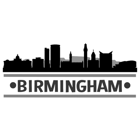 Birmingham Icon Vector Art Design Skyline Flat City Silhouette Editable Template Ilustração