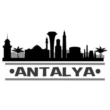 Antalya Icon Vector Art Design Skyline Flat City Silhouette Editable Template