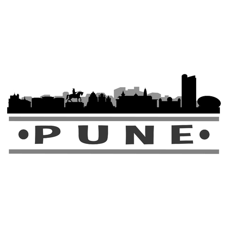 Pune Icon Vector Art Design Skyline Flat City Silhouette Editable Template Ilustração