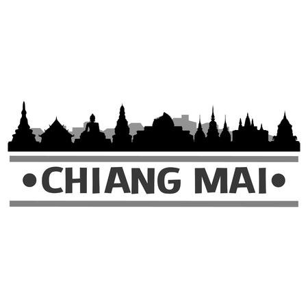 Chiang Mai Icon Vector Art Design Skyline Flat City Silhouette Editable Template