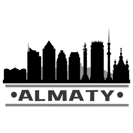 Almaty Turkey Icon Vector Art Design Skyline Flat City Silhouette Editable Template