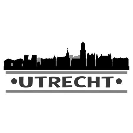 Utrecht Netherlands Europe Icon Vector Art Design Skyline Flat City Silhouette Editable Template Illustration