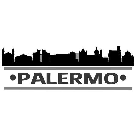 Palermo Italy Europe Icon Vector Art Design Skyline Flat City Silhouette Editable Template Illustration