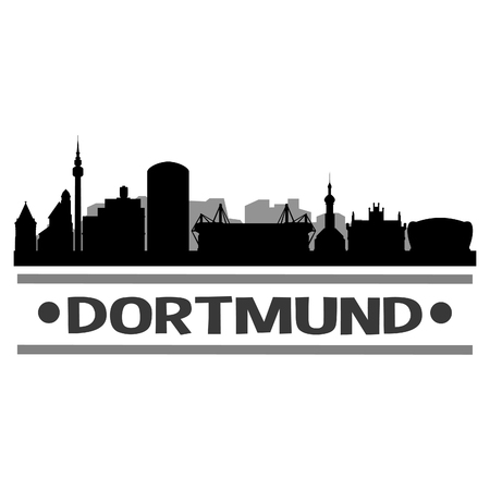 Dortmund Germany Europe Icon Vector Art Design Skyline Flat City Silhouette Editable Template