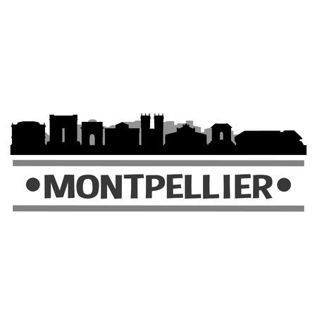 Montpellier France Europe Icon Vector Art Design Skyline Flat City Silhouette Editable Template Illustration