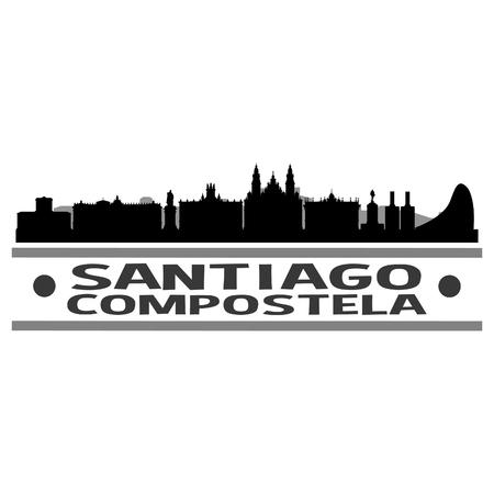 Santiago de Compostela Spain Europe Icon Vector Art Design Skyline Flat City Silhouette Editable Template