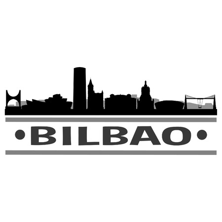 Bilbao Spain Europe Icon Vector Art Design Skyline Flat City Silhouette Editable Template