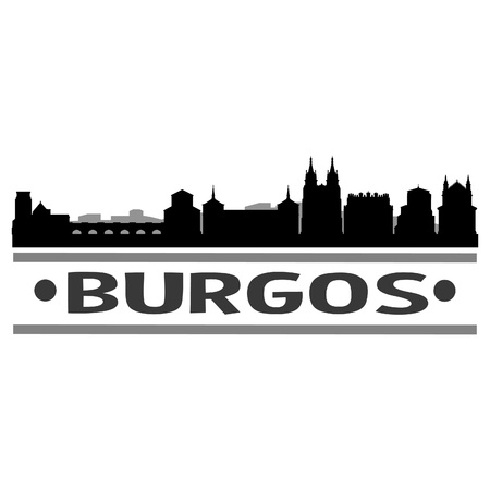 Burgos Spain Europe Icon Vector Art Design Skyline Flat City Silhouette Editable Template Çizim