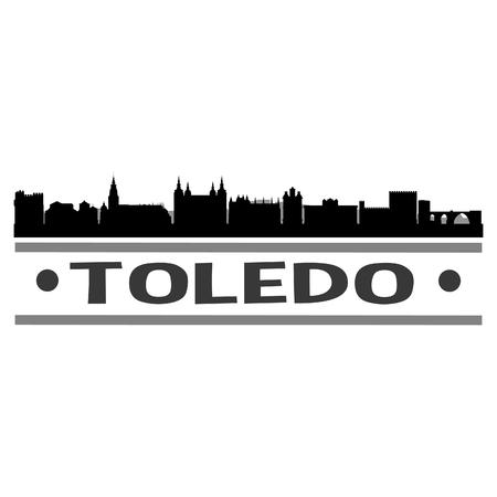 Toledo Spain Europe Icon Vector Art Design Skyline Flat City Silhouette Editable Template