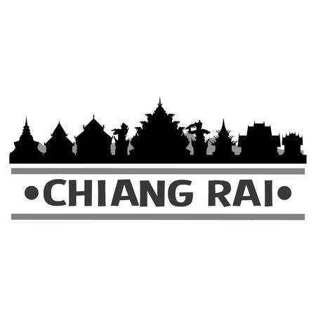 Chiang Rai Thailand Asia Icon Vector Art Design Skyline Flat City Silhouette Editable Template