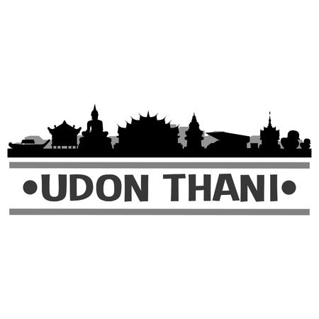 Udon Thani Thailand Asia Icon Vector Art Design Skyline Flat City Silhouette Editable Template Vektorové ilustrace