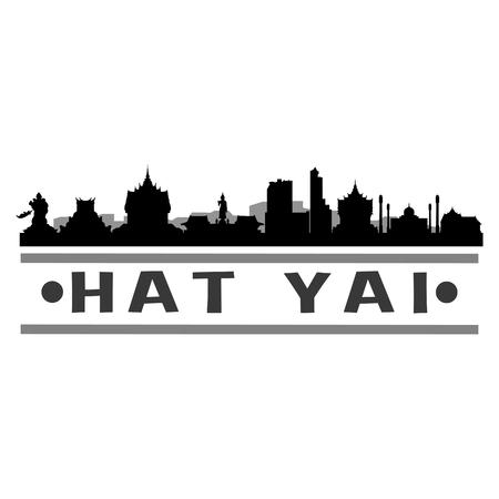 Hat Yai Thailand Asia Icon Vector Art Design Skyline Flat City Silhouette Editable Template Stock Illustratie