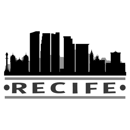 Recife Brazil America Icon Vector Art Design Skyline Flat City Silhouette Editable Template