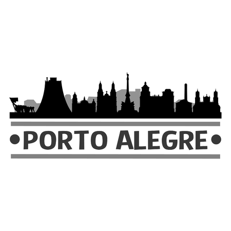 Porto Alegre Brazil America Icon Vector Art Design Skyline Flat City Silhouette Editable Template