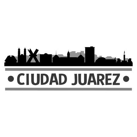 Ciudad Juarez Mexico Icon Vector Art Design Skyline Flat City Silhouette Editable Template Çizim