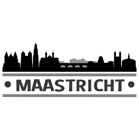 Maastricht Netherlands Europe Icon Vector Art Design Skyline Flat City Silhouette Editable Template Vectores