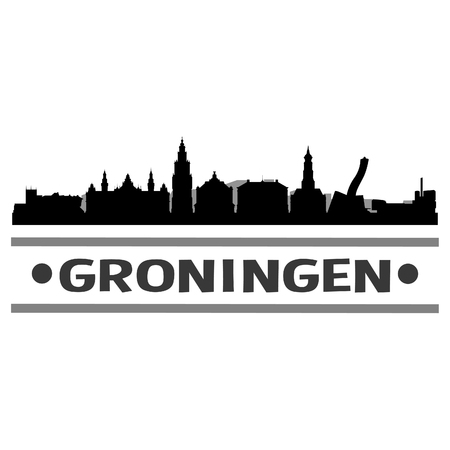 Groningen Netherlands Europe Icon Vector Art Design Skyline Flat City Silhouette Editable Template. Illustration