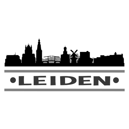 Leiden Holland Netherlands Europe Icon Vector Art Design Skyline Flat City Silhouette Editable Template.