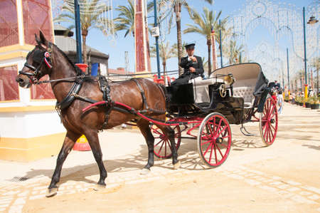 JEREZ DE LA FRONTERA, SPAIN-MAY 8: People on draft horses walking in the royal house of the fair at the Horse Fair on May 8, 2018 in Jerez de la Frontera Éditoriale