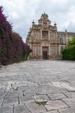 Atrium with flowers of the Charterhouse of Jerez de la Frontera, C? ? diz. Monasteryalso known as La Cartuja de Jerez.