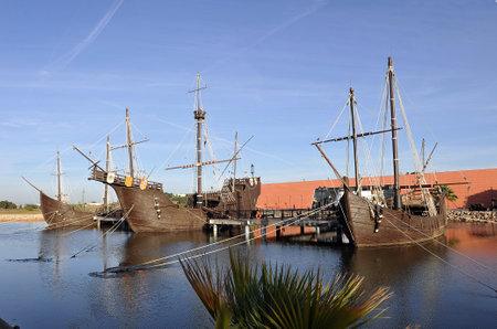 colon: Las carabelas de Cristóbal Colón en La Rábida, Huelva