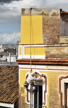 risky: Risky worker, house painter