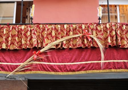 semana santa: Holy Week in Seville, balcony, Semana Santa Stock Photo