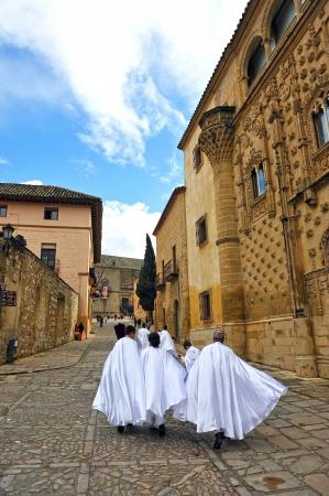 santa cena: Semana Santa en Baeza, Nazarenos en el Palacio de Jabalquinto