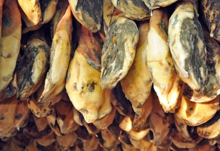 Drying Jabugo jamon iberico Фото со стока